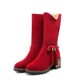 Bow Round Toe Chunky Heel Women's Snow Boots