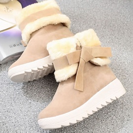 Bow Plain Hidden Elevator Heel Women's Snow Boots