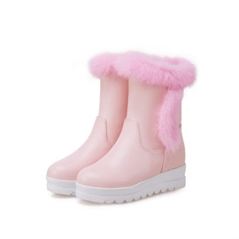 Plain Round Toe Wedge Heel Slip-On Women's Snow Boots