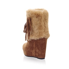 Plain Wedge Heel Slip-On Short Floss Boots