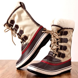 Round Toe Color Block Waterproof Women's Winter Boots