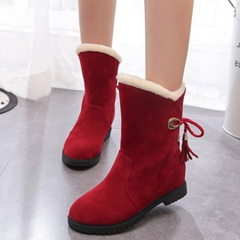 Plain Lace-Up Back Round Toe Women's Snow Boots