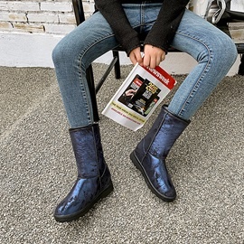 Round Toe Slip-On Color Block Snow Boots