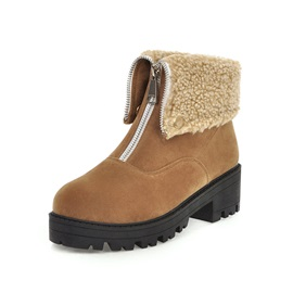Front Zipper Round Toe Casual Ankle Boots