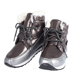 Lace-Up Front Round Toe Metallic Snow Boots
