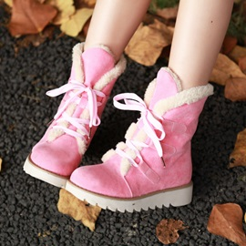 Lace-Up Front Round Toe Casual Snow Boots
