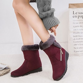 Patchwork Wedge Heel Side  Casual Boots
