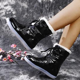 Plain Lace-Up Front Flat With Thread Boots