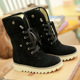 Lace-Up Front Round Toe Plain Western Boots