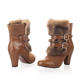 Round Toe Chunky Heel Patchwork Sweet Boots