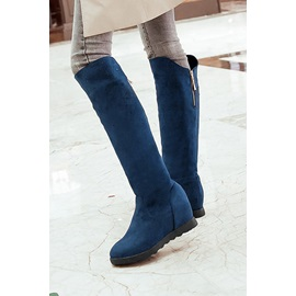 Solid Color Rhinestone Decorated Long Boots