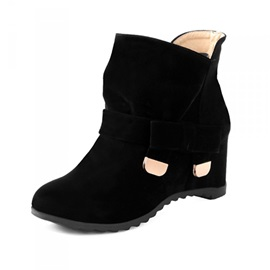 Cute Bowknot Suede Elevator Ankle Boots