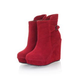 Solid Color Suede Women's Wedge Boots