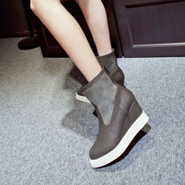 PU Patchwork Back-Zip Wedge Boots