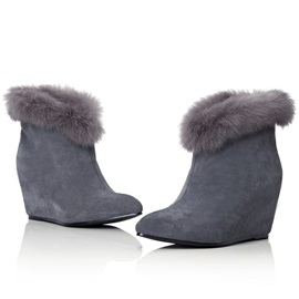 Furry Pointed Toe Women's Wedge Boots