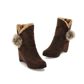 Pompom Suede Round Toe Wedge Boots