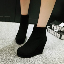 Solid Color Suede Zippered Wedge Boots