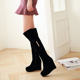 Black Suede Wedge Heel Thigh High Boots