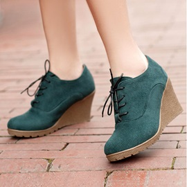 Suede Lace-Up Women's Wedge Boots