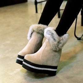 Faux Fur Round Toe Wedge Boots
