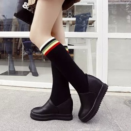 Striped Sock Patchwork Wedge Boots