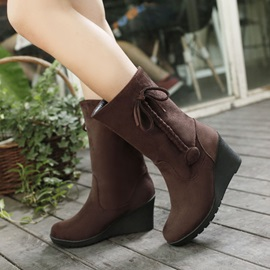 Suede Crochet Slip-On Wedge Boots
