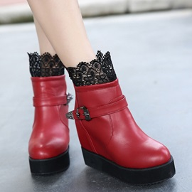 Lace  Elevator Heel Wedge Boots