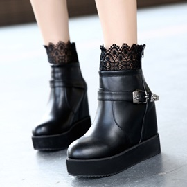 Lace Patchwork Elevator Heel Wedge Boots