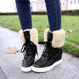 Faux Fur Elevator Heel Lace-Up Cheap Snow Booties