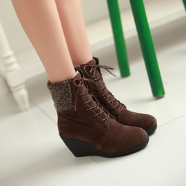 Suede Lace-Up Front Wedge Boots