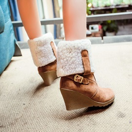 Suede Buckles Fold Over Wedge Boots