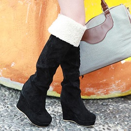 Suede Fold-Over Wedge Heel Thigh High Boots