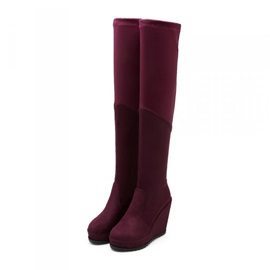 Solid Color Suede Thigh High Wedge Boots