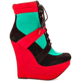 Color Block Suede Wedge Boots
