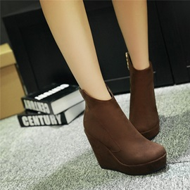 Solid Color Side Zipper Wedge Boots