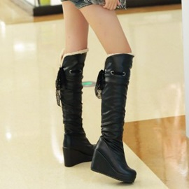 Solid Color PU Slip-On Knee High Wedge Boots