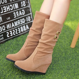 Suede Slip-On Women's Wedge Boots