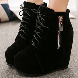 Solid Color Suede Lace-Up Wedge Boots
