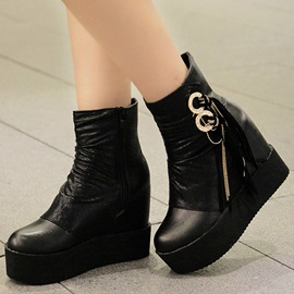 Rings Embellished PU Patchwork Wedge Boots