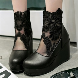 Lace Patchwork Round Toe Wedge Boots