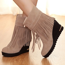 Suede Tassels Slip-On Wedge Boots