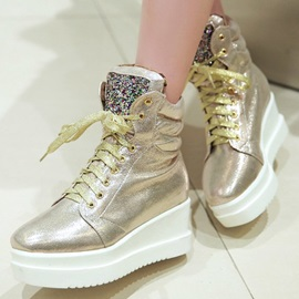 Metallic Sequins Lace-Up Booties