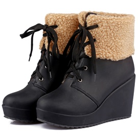 PU Patchwork Lace-Up Wedge Boots