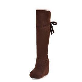 Suede Round Toe Knee High Wedge Boots
