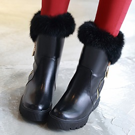 Faux Leather Side Zipper Elevator Heel Booties