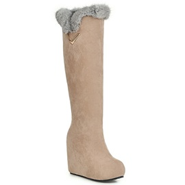 Suede Slip-On Knee-High Wedge Fashion Boots