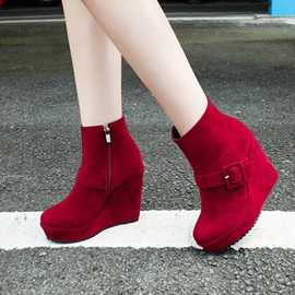 Faux Suede Buckle Side  Women's Wedge Boots