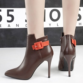 Pointed Toe Color Block Side Zipper Western Boots