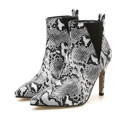 Stiletto Heel Color Block Pointed Toe Casual Boots