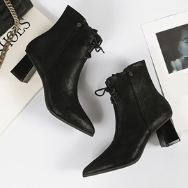 Pointed Toe Plain Side Zipper PU Boots